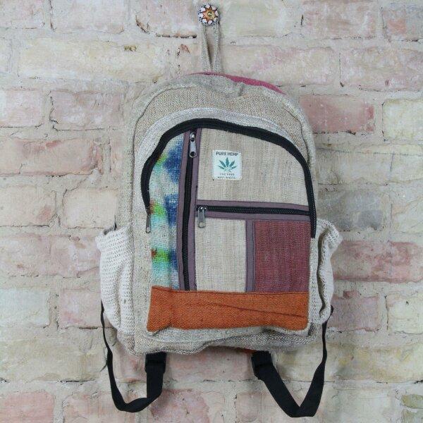 Rucksack - Hanf - Muster 06 - beige-bunt-batik