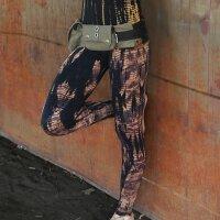 Leggings - Batik - Bamboo - schwarz - braun-beigebraun