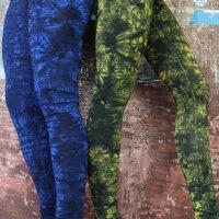 Leggings - Batik - Landscape - schwarz - blau
