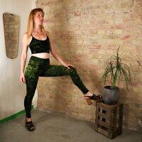 Leggings - Batik - Landscape - schwarz - gelbgrün