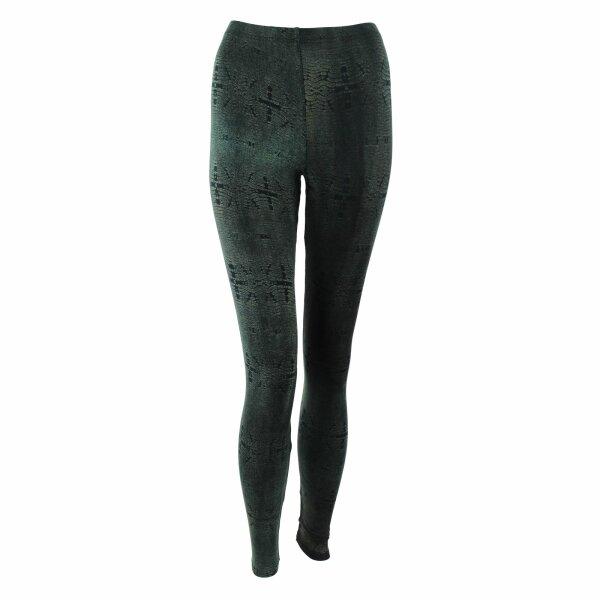 Leggings - Batik - Reptile - schwarz - grün khaki