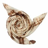 Cotton Scarf - Bamboo - brown tie dye - squared kerchief