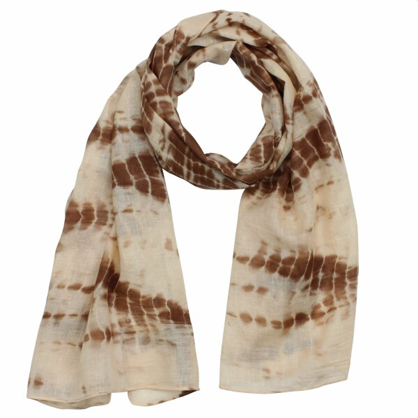 Shawl - Bamboo - brown tie dye - 40x140 cm