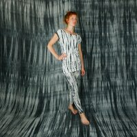 Leggings - Batik - Bamboo - creme - schwarz-grau