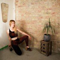 Leggings - Batik - Tread - schwarz - rot-zinnoberrot