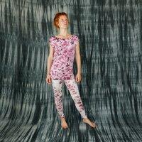Leggings - Batik - Allover - creme - braun-bordeaux