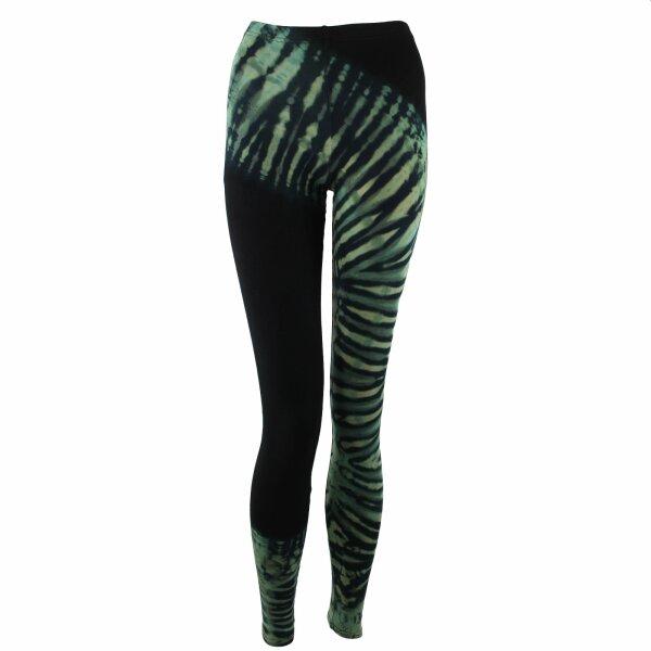 Leggings - tie-dye batik - Tread - black - forest-green