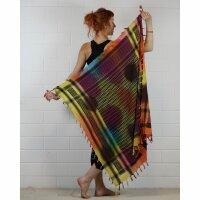 Kufiya - Tie dye-Batik-multicolored - black 01 - Shemagh - Arafat scarf